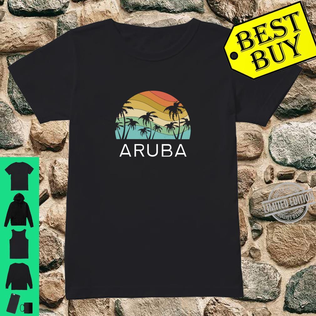 Aruba Island Beach Retro Vintage Vacation Souvenir Flag Shirt ladies tee