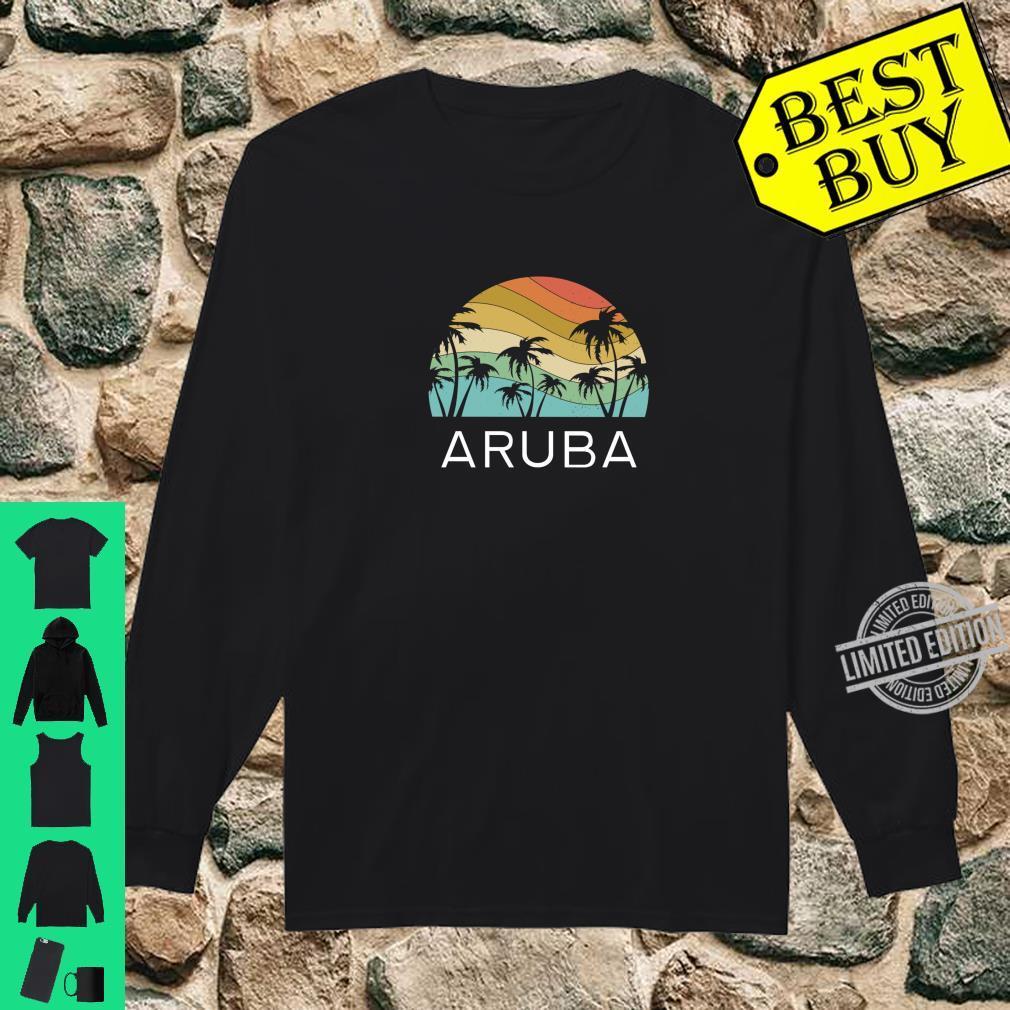 Aruba Island Beach Retro Vintage Vacation Souvenir Flag Shirt long sleeved