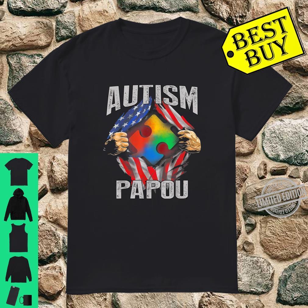 Autism Papou American Flag Autism Awareness Shirt
