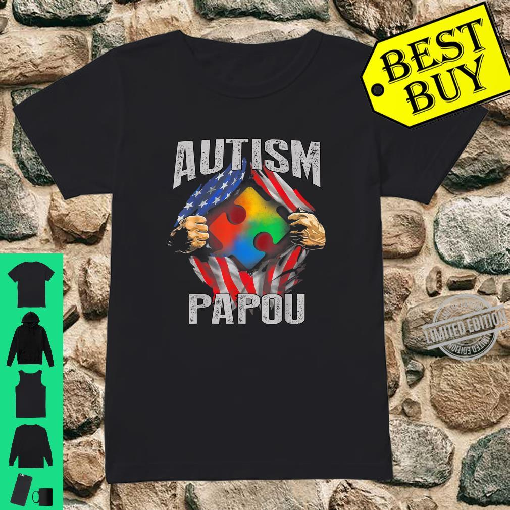 Autism Papou American Flag Autism Awareness Shirt ladies tee