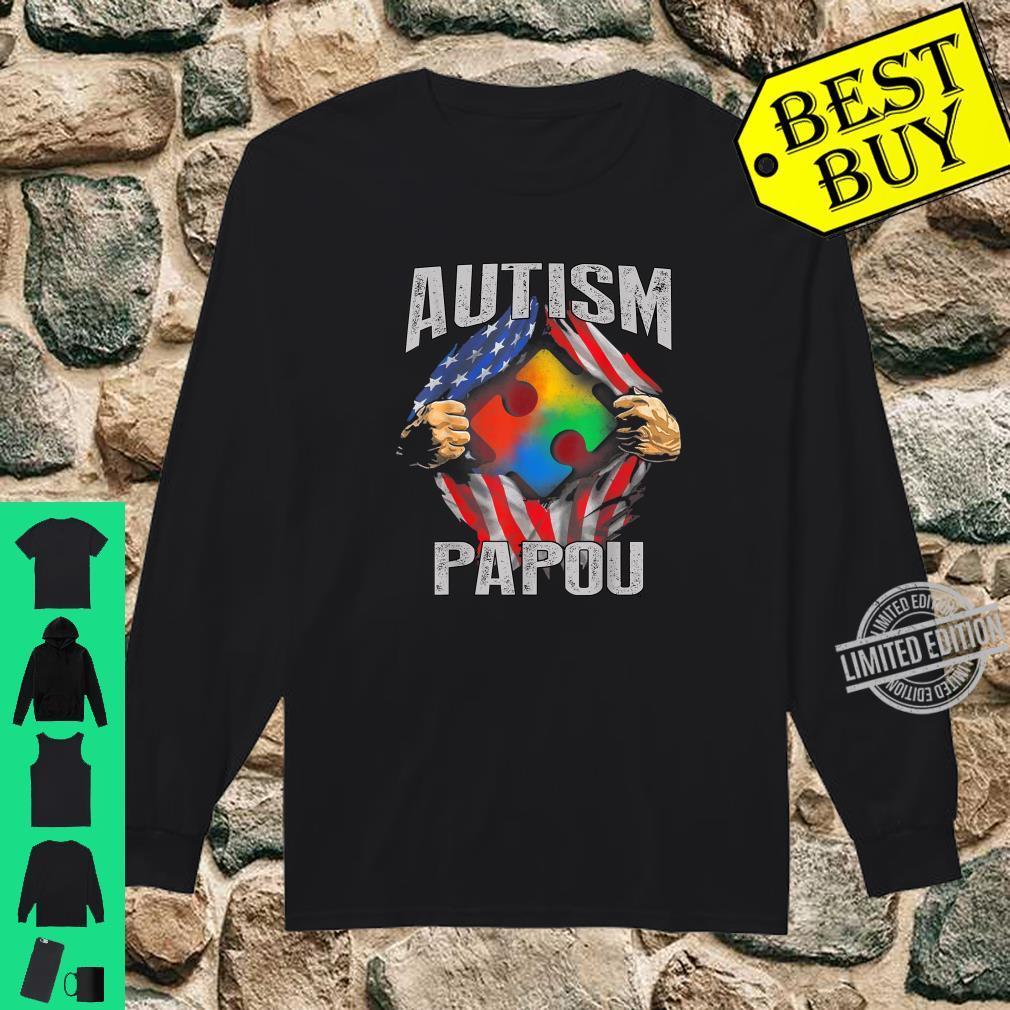 Autism Papou American Flag Autism Awareness Shirt long sleeved