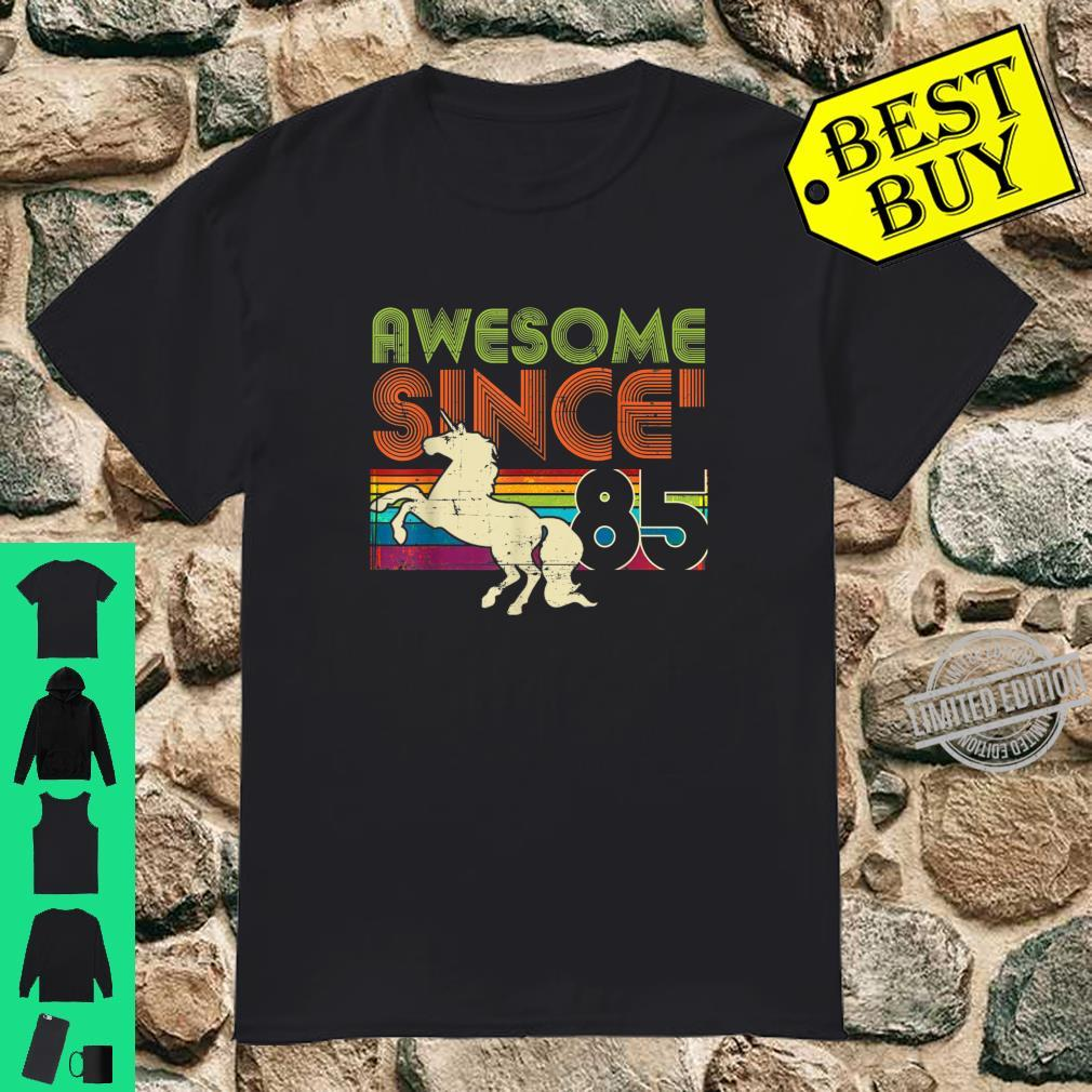 Awesome Since 1985 35th Birthday Vintage Unicorn Rainbow Shirt