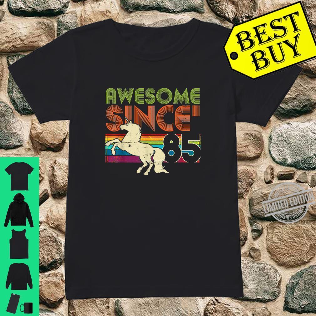 Awesome Since 1985 35th Birthday Vintage Unicorn Rainbow Shirt ladies tee