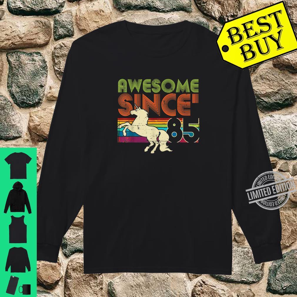 Awesome Since 1985 35th Birthday Vintage Unicorn Rainbow Shirt long sleeved