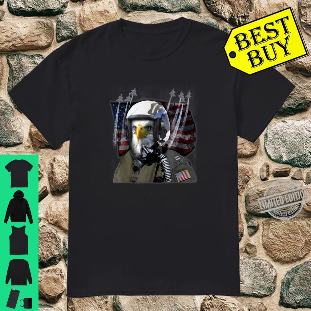Fighter Jet 4th of July American Flag Patriotic USAF F22 Shirt