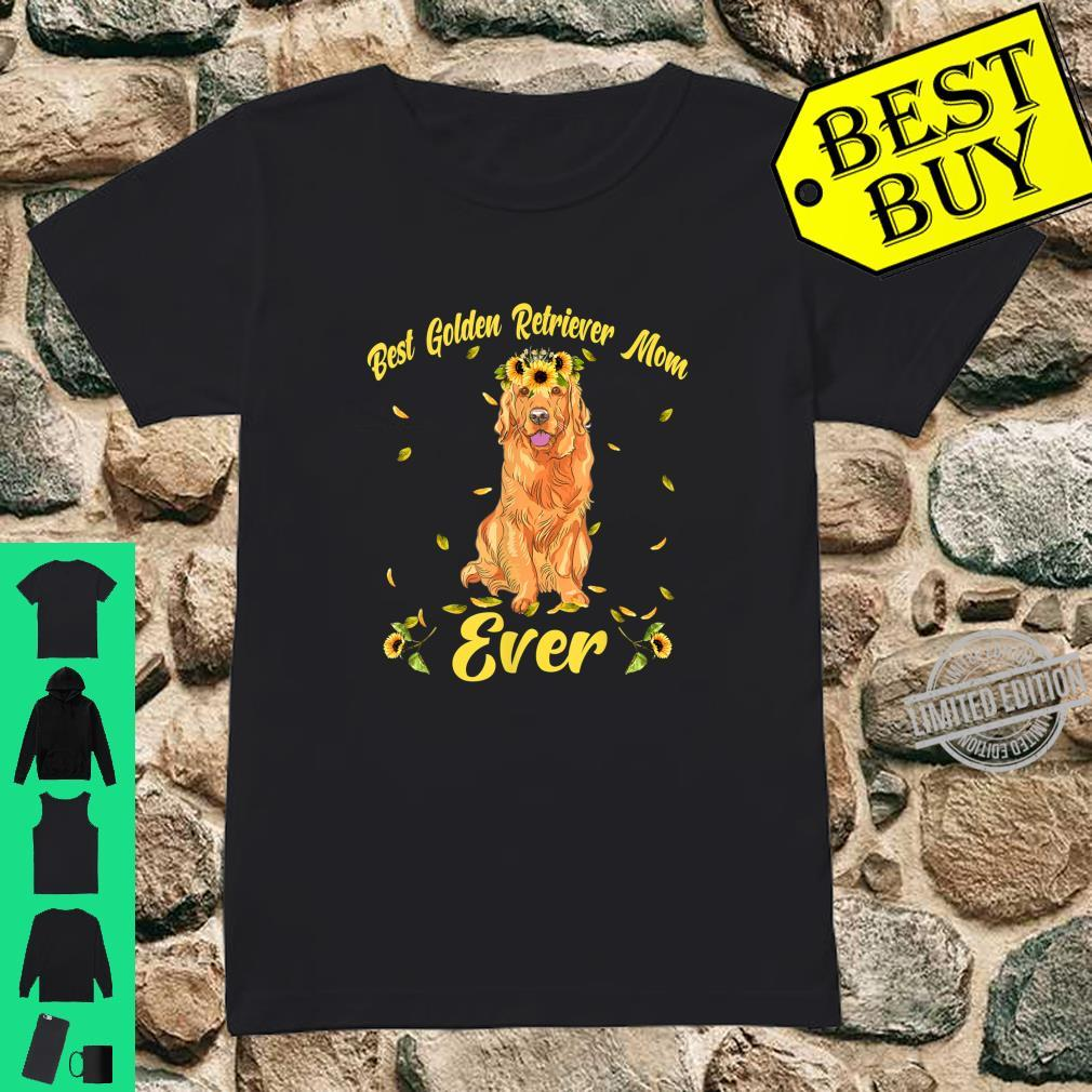 Funny Best Golden Retriever Dog Mom Ever Flowers Shirt ladies tee