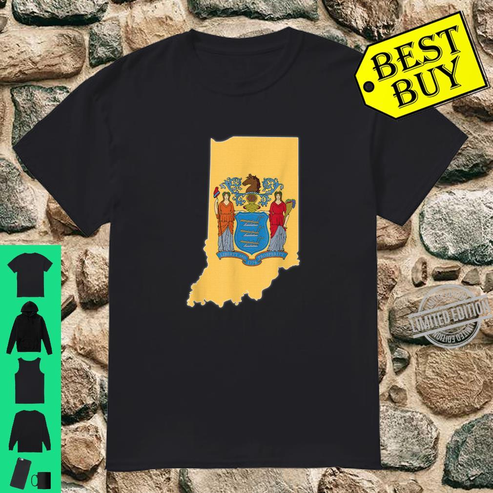 INDIANA STATE MAP NEW JERSEY NJ Flag Roots Shirt