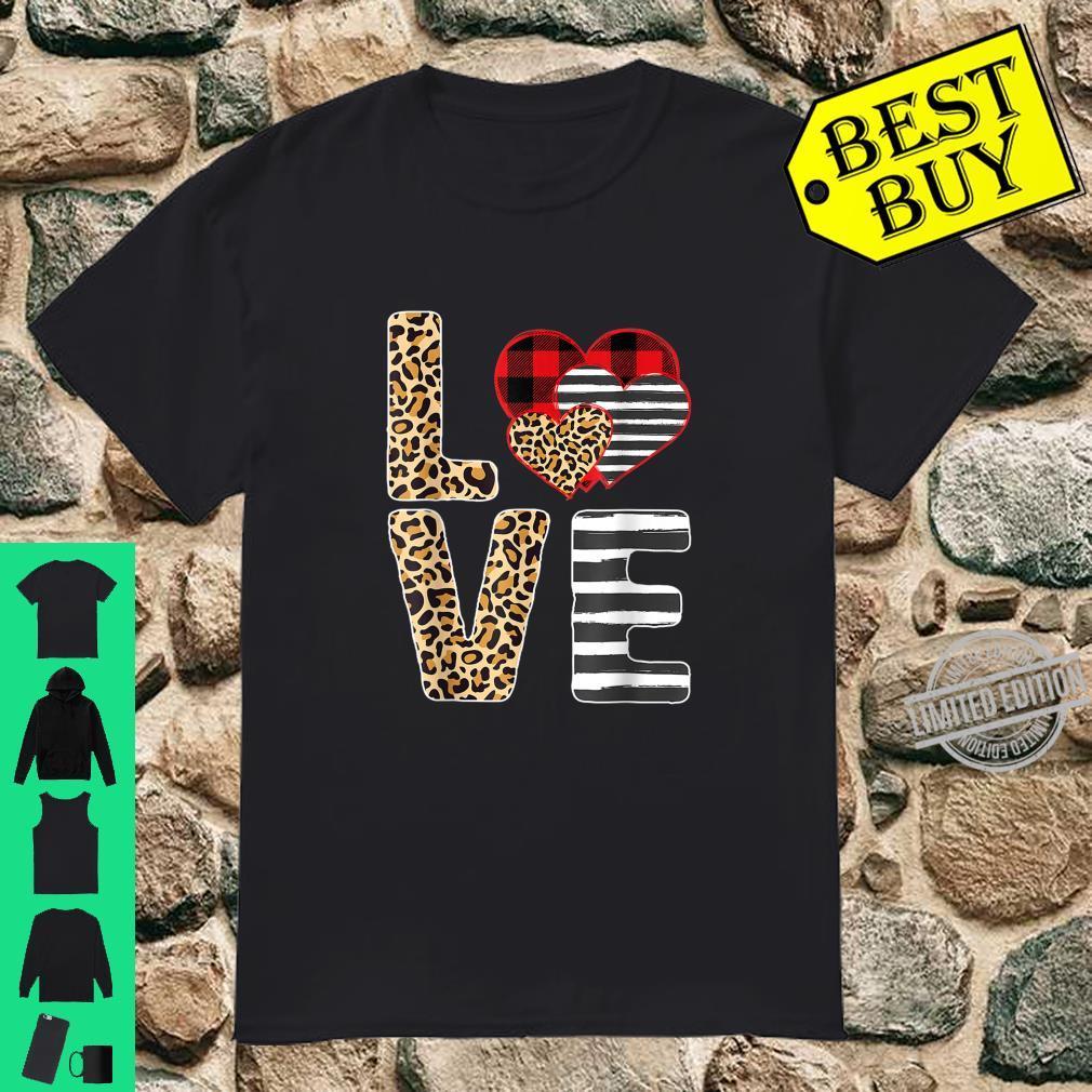 Love Valentines Day Hearts Leopard Buffalo Plaid Zebra Print Shirt
