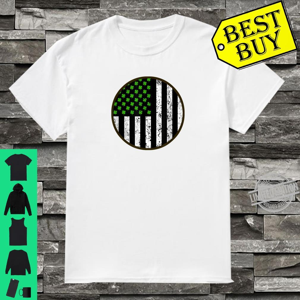 St Patricks Day Shamrock American Flag Irish Vintage Clover Shirt