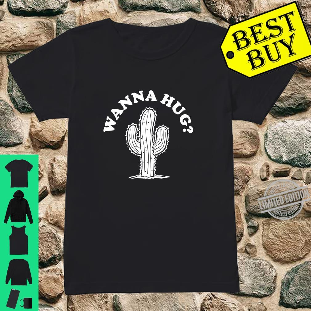 Wanna Hug Sarastic Cactus Not a Hugger Langarmshirt Shirt ladies tee